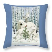 White Animals Red Bird Throw Pillow by Lynn Bywaters