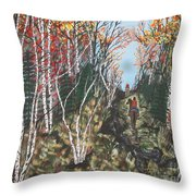 White Birch Trail Ride Throw Pillow by Jeffrey Koss