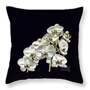 White Orchids Throw Pillow by Tom Prendergast