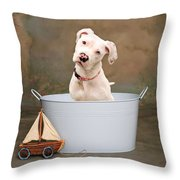 White Pitbull Puppy Portrait Throw Pillow by James BO  Insogna