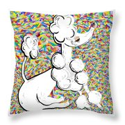 White Poodle Throw Pillow by Eloise Schneider
