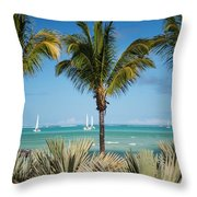 White Sails. Mauritius Throw Pillow by Jenny Rainbow