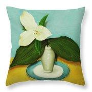 White Trillium Throw Pillow by Anastasiya Malakhova