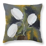 White Tulips Throw Pillow by Leana De Villiers