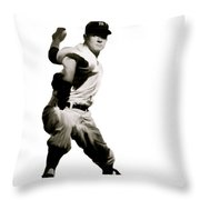 Whitey Ford  Crafty  Throw Pillow by Iconic Images Art Gallery David Pucciarelli