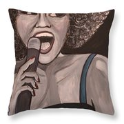 Whitney Houston Throw Pillow by Kate Fortin