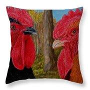 Who You Calling Chicken Throw Pillow by Karen Ilari