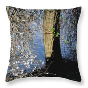 Wild Cherry Tree On The Sacramento River  Throw Pillow by Pamela Patch