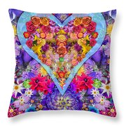 Wild Flower Heart Throw Pillow by Alixandra Mullins