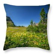 Wild Mountain Flowers Glacier National Park   Throw Pillow by Rich Franco