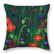 Wild Poppies Throw Pillow by Anastasiya Malakhova