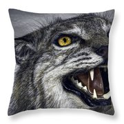 WILDCAT FEROCITY Throw Pillow by Daniel Hagerman