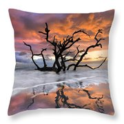 Wildfire Throw Pillow by Debra and Dave Vanderlaan
