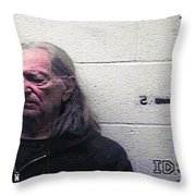 Willie Nelson Mugshot Throw Pillow by Bill Cannon