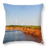 Wind Turbines On Atlantic Coast Throw Pillow by Elena Elisseeva