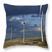 Wind Turbines. Region Auvergne. France Throw Pillow by Bernard Jaubert