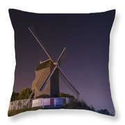 Windmill At Night Throw Pillow by Juli Scalzi