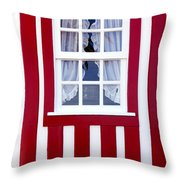 Window On Stripes Throw Pillow by Carlos Caetano