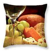 Wine And Cheese Throw Pillow by Elena Elisseeva