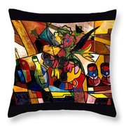 Wine And Flowers For Two Throw Pillow by Everett Spruill