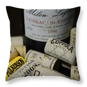 Wine And Wine Corks Throw Pillow by Paul Ward