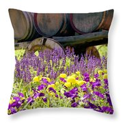Wine Barrels At V. Sattui Napa Valley Throw Pillow by Michelle Wiarda