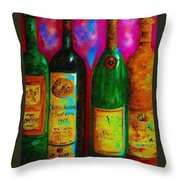 Wine Bottle Quartet on a Blue Patched Wall Throw Pillow by Eloise Schneider