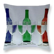 Wine Bottles And Glasses Illusion Throw Pillow by Jack Schultz