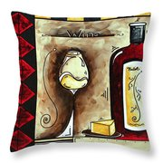 Wine Tasting Original Madart Painting Throw Pillow by Megan Duncanson