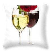 Wine With Red Rose Throw Pillow by Elena Elisseeva