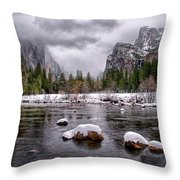 Winter At Valley View Throw Pillow by Cat Connor