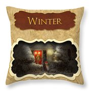Winter Button Throw Pillow by Mike Savad