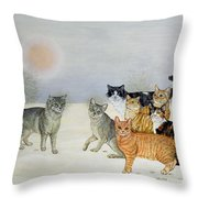Winter Cats Throw Pillow by Ditz