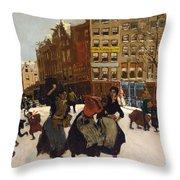 Winter In Amsterdam Throw Pillow by Georg Hendrik Breitner