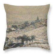 Winter In Giverny Throw Pillow by Claude Monet