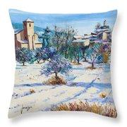 Winter In Lourmarin Throw Pillow by Jean-Marc Janiaczyk