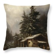 Winter Landscape With Figures Resting Near A Water Mill Throw Pillow by Heinrich Hofer