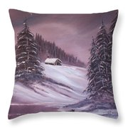 Winter Moon Throw Pillow by Janice Rae Pariza