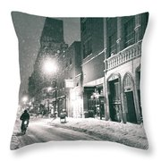 Winter Night - New York City - Lower East Side Throw Pillow by Vivienne Gucwa