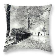 Winter Night - Snow - Madison Square Park - New York City Throw Pillow by Vivienne Gucwa