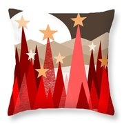 Winter Reds Throw Pillow by Val Arie