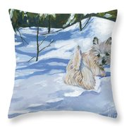 Winter Romp Throw Pillow by Molly Poole