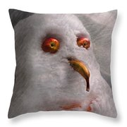 Winter - Snowman - What are you looking at Throw Pillow by Mike Savad