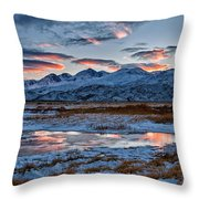 Winter Sunset Reflection Throw Pillow by Cat Connor