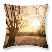 Winter Sunset Throw Pillow by Wim Lanclus