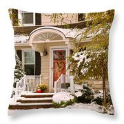 Winter - Westfield Nj - It's Too Early For Winter Throw Pillow by Mike Savad