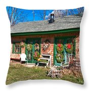 Winterberry Farm Stand Throw Pillow by Guy Whiteley