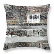 Wintering Ducks On Silver Lake Throw Pillow by Kim Bemis