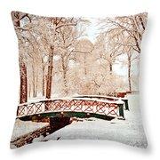 Winter's Bridge Throw Pillow by Marty Koch