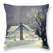 Winter's Silent Night Throw Pillow by Janine Riley